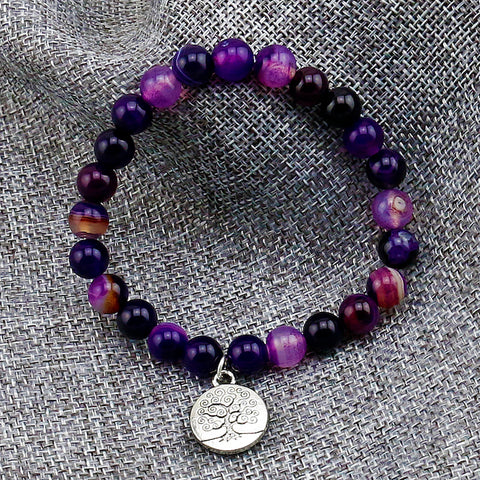 Purple Banded Onyx Tree of Life Bracelet
