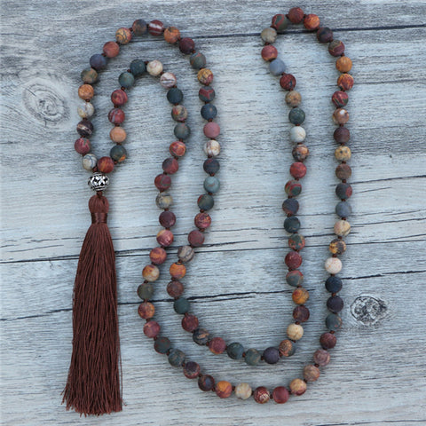jasper mala, red jasper mala, red mala, purple mala, tassel mala, mala necklace, red jasper necklace