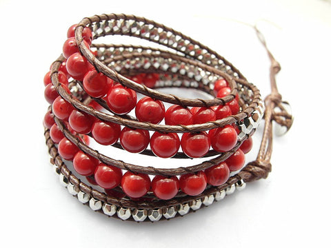 Red Bead Wrap Bracelet