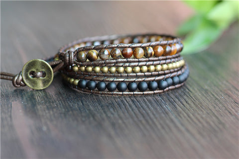 Tiger Eye Black Gold Wrap Bracelet