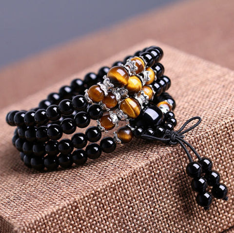 tiger's eye mala, mala beads, mala bracelet, black mala, tiger's eye bracelet