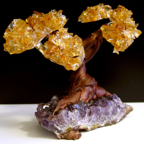 Citrine & Amethyst Geode Twin Spirit Tree