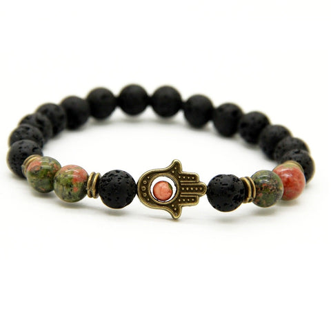 Lucky in Love Unakite Lava Bracelet