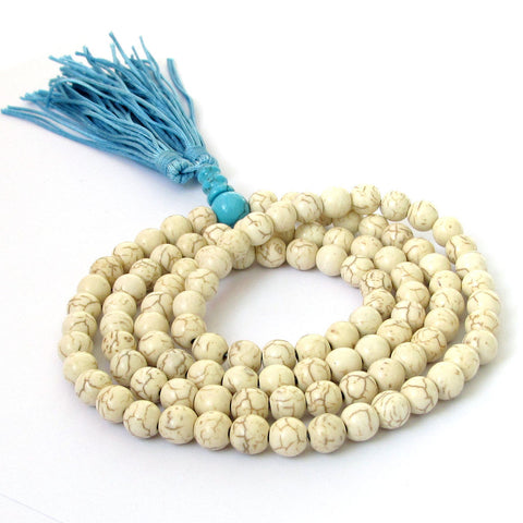 White Howlite Turquoise Prayer Beads Mala