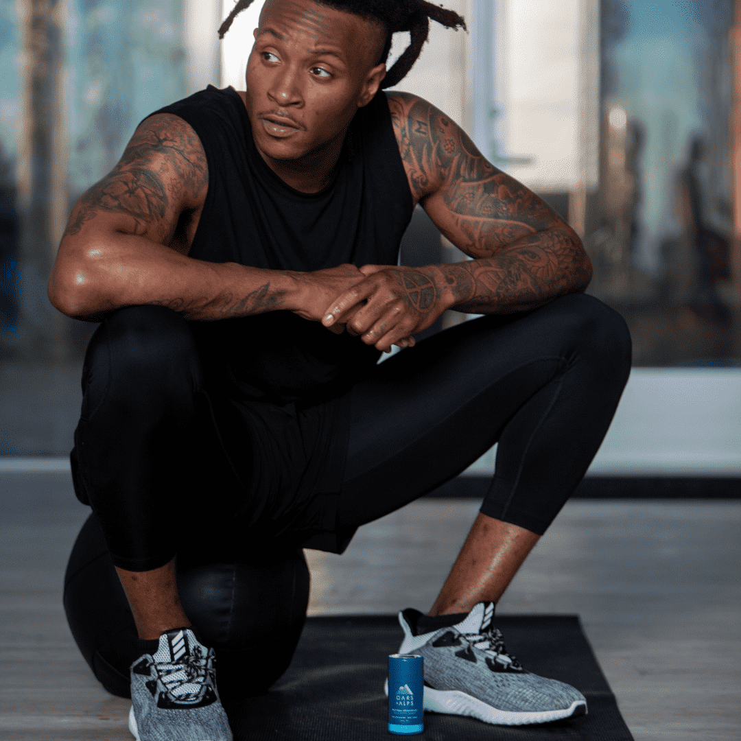DeAndre Hopkins controls sweat while working out with aluminum free deodorant