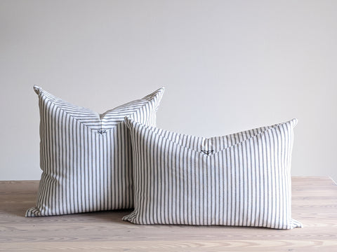 The Chop Pillow in Black and White Stripe
