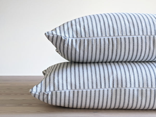The Chop Pillow in Black and White Stripe - 18x18