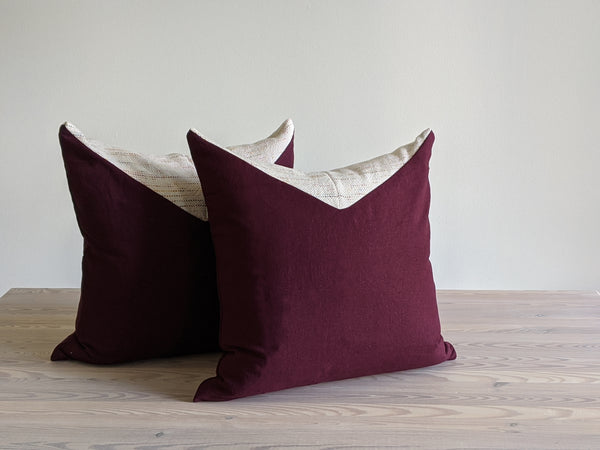 The Chop Pillow in Burgundy with Mini Dot Confetti