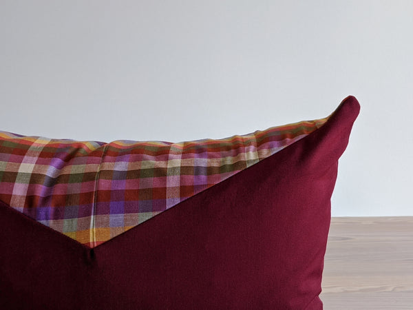 The Chop Pillow in Wine Color Block
