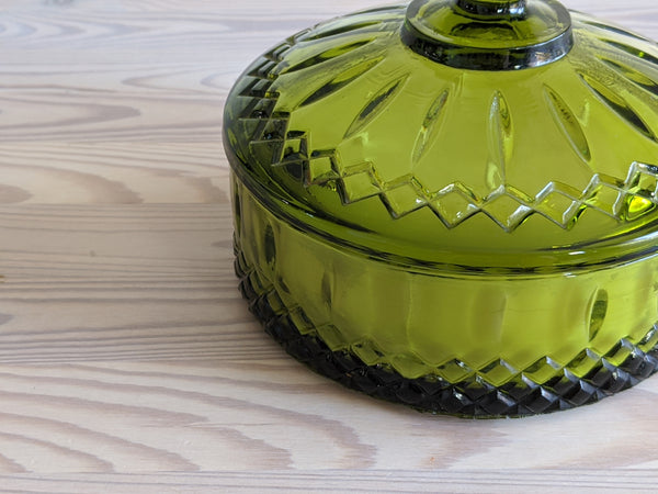 Vintage Candy Dish Candle in Olive Green SALE