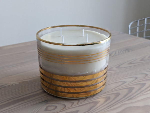Vintage Gold Striped Glass Candle