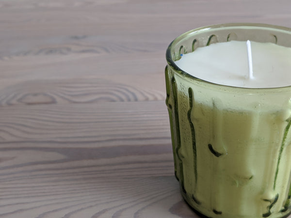 Vintage Green Tiki Glass Candle