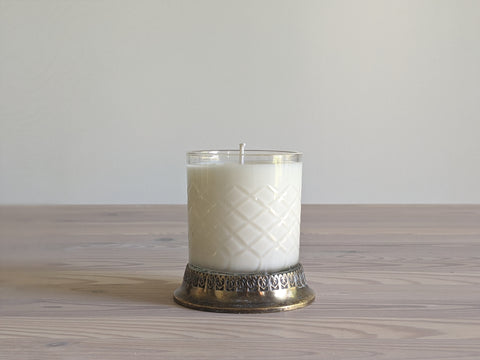 Vintage Glass and Metal Candle