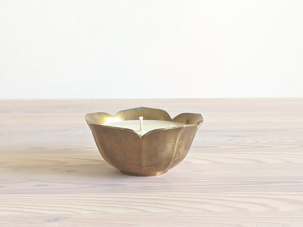 Vintage Brass Flower Candle I