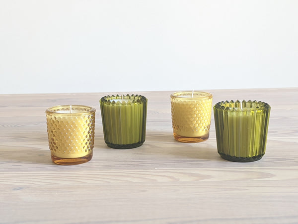Vintage Olive Glass Votive Candles