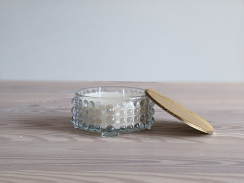 Vintage Glass Hobnail Jar Candle