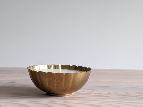 Vintage Scalloped Brass Bowl Candle