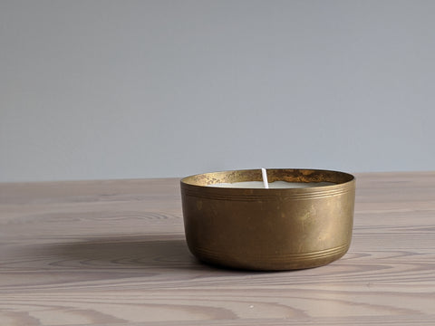 Vintage Brass Bowl Candle