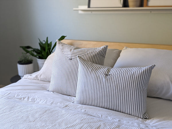 The Chop Pillow in Black and White Stripe - 14x20