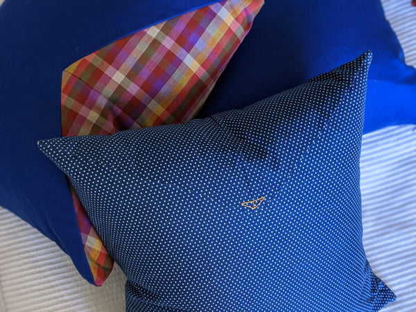 The Chop Pillow in The Hill-side Blue Polka Dot