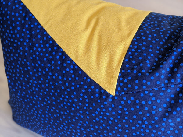 The Chop Pillow in Blue Polka Dot and Mustard