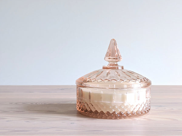 Vintage Candy Dish Candle in Pink