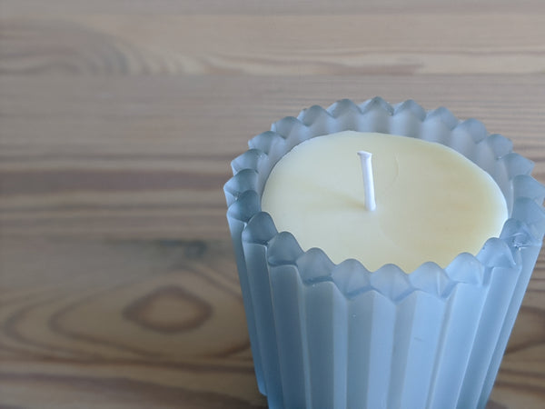 Vintage Sky Blue Frosted Glass Votive Candles