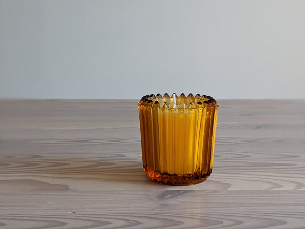 Vintage Orange Glass Votive Candles