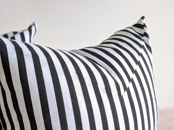 The Chop Pillow in Black and White Vintage Stripe
