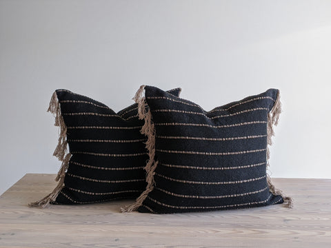 Tassel Pillow in Black and Taupe Handmade Fabric