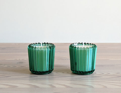 Vintage Forest Green Glass Votive Candles