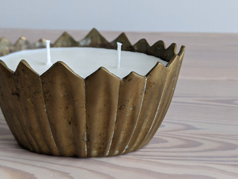Vintage Brass Leaf Candle