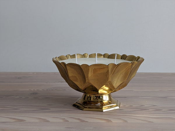 Vintage Pedestal Bowl Candle in Yellow Brass