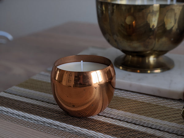 Vintage Copper Cup Candle Set of 2