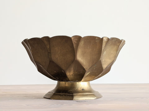 Vintage Faceted Pedestal Candle in Brass