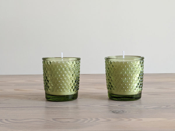 Vintage Green Hobnail Glass Votive Candles