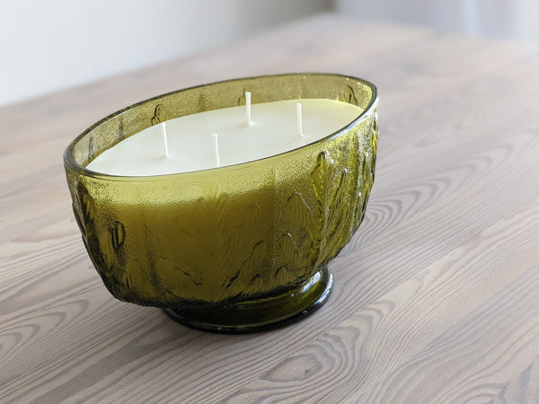 Vintage Green Glass Leaf Candle - Oval