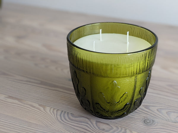 Vintage Green Glass Leaf Candle