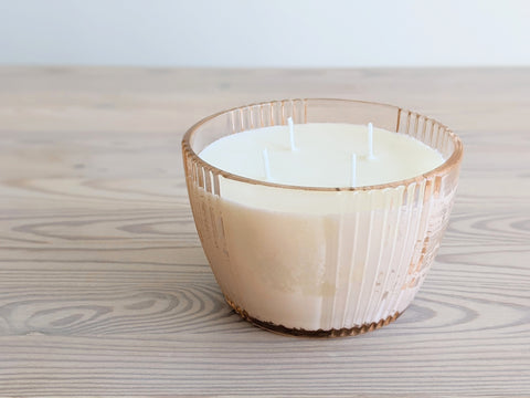 Vintage <i>Scented</i> Glass Candle in Light Pink