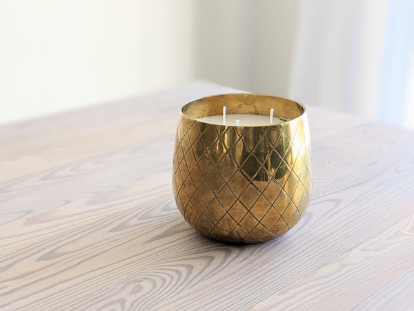 Vintage Brass Criss Cross Candle