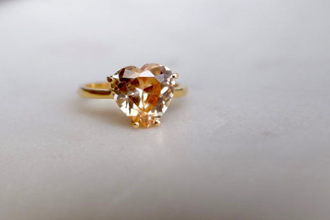Topaz yellow gemstone ring