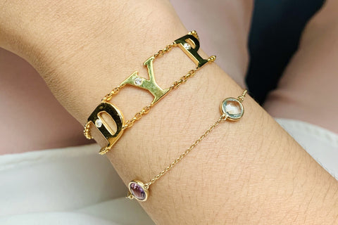 14k gold letters in chain bracelet