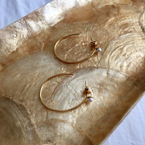 14k gold Pearl hoop earrings