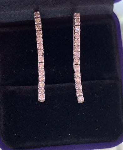 14k white gold diamond strand drop earrings