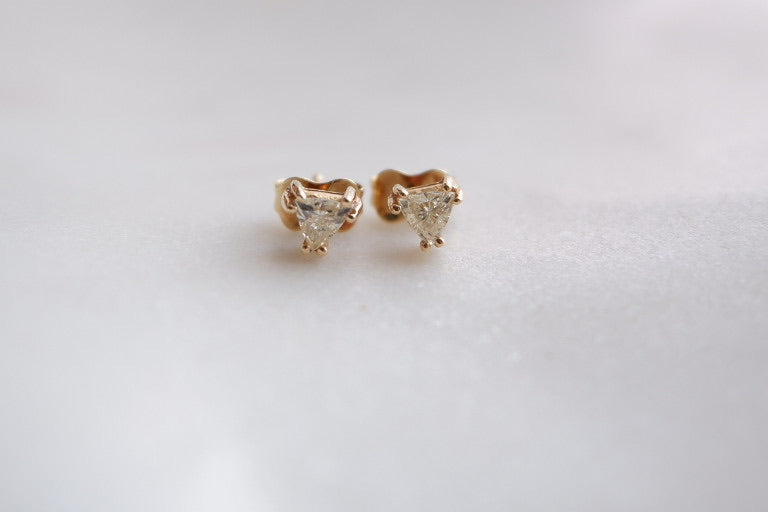 14k gold trillion cut diamond earrings