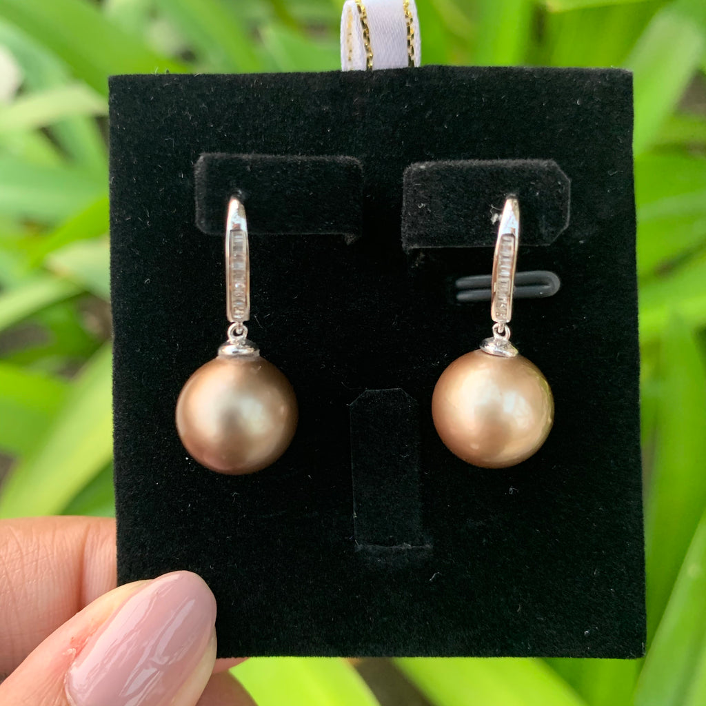 18k white gold south sea pearls bronze color