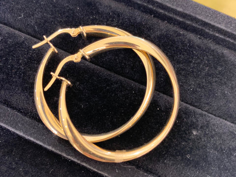 14k gold Large tapered hoops