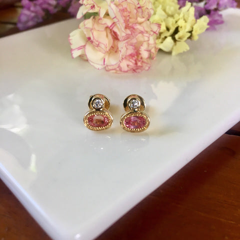 Pink sapphires + moissanite diamonds 14k solid gold