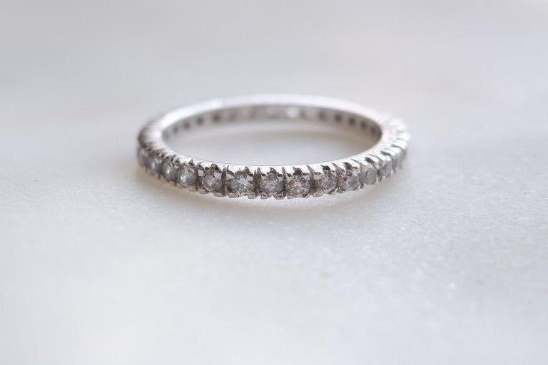 14k White gold eternity band ring