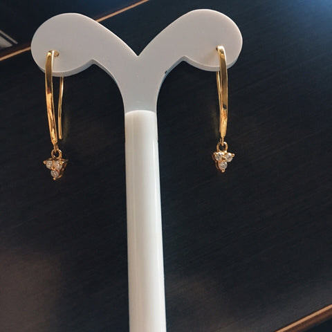 Trio diamonds hook earrings